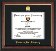 Image of Kennesaw State University Diploma Frame - Rosewood with Gold Lip - with 24k Gold-Plated Medallion KSU Name Embossing - Black on Gold mats