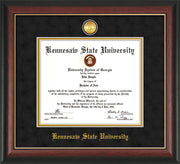 Image of Kennesaw State University Diploma Frame - Rosewood with Gold Lip - w/24k Gold-Plated Medallion and KSU Name Embossing - Black Suede on Gold mat