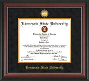 Image of Kennesaw State University Diploma Frame - Rosewood w/Gold Lip - w/24k Gold-Plated Medallion & Fillet - w/KSU Name Embossing - Black Suede mat