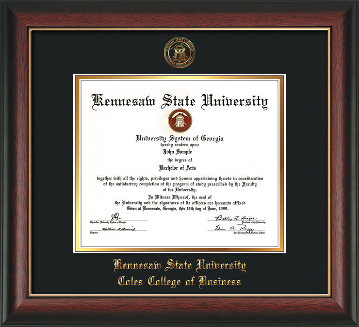 This is a Kennesaw State University Diploma Frame - Coles College of Business - Rosewood with Gold Lip - with KSU Seal - and Coles embossing - Black on Gold mat