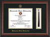 Image of Kennesaw State University Diploma Frame - Rosewood w/Gold Lip - w/KSU Embossed Seal & School Name - Tassel Holder - Black on Gold mat