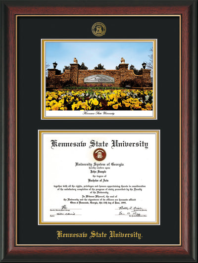 Image of Kennesaw State University Diploma Frame - Rosewood with Gold Lip - with KSU Seal - Campus Watercolor - Black on Gold mat