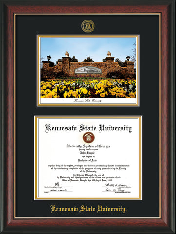 Kennesaw State Diploma Frame Rosewood W Lip Watercolor