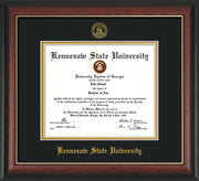 Image of Kennesaw State University Diploma Frame - Rosewood w/Gold Lip - w/Embossed KSU Seal & Name - Black on Gold mats