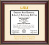 Image of Louisiana State University School of Veterinary Medicine Diploma Frame - Cherry Lacquer - w/Embossed LSU Seal & Veterinary Name - Cream on Black mat