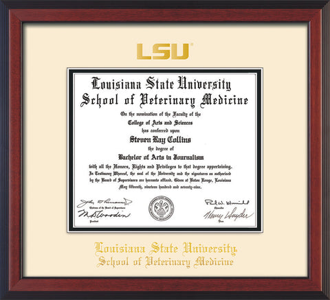 Image of Louisiana State University School of Veterinary Medicine Diploma Frame - Cherry Reverse - w/Embossed LSU Seal & Veterinary Name - Cream on Black mat
