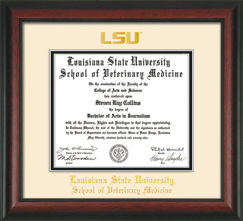 Image of Louisiana State University School of Veterinary Medicine Diploma Frame - Rosewood - w/Embossed LSU Seal & Veterinary Name - Cream on Black mat
