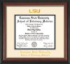 Image of Louisiana State University School of Veterinary Medicine Diploma Frame - Rosewood w/Gold Lip - w/Embossed LSU Seal & Veterinary Name - Cream on Black mat