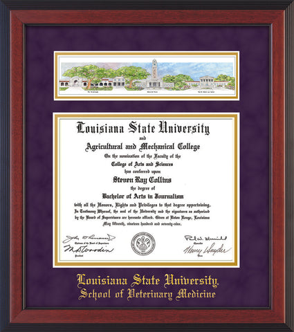Image of Louisiana State University School of Veterinary Medicine Diploma Frame - Cherry Reverse - w/Veterinary Embossed School Name Only - Campus Collage - Purple Suede on Gold mat