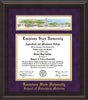 Image of Louisiana State University School of Veterinary Medicine Diploma Frame - Mahogany Braid - w/Veterinary Embossed School Name Only - Campus Collage - Purple Suede on Gold mat