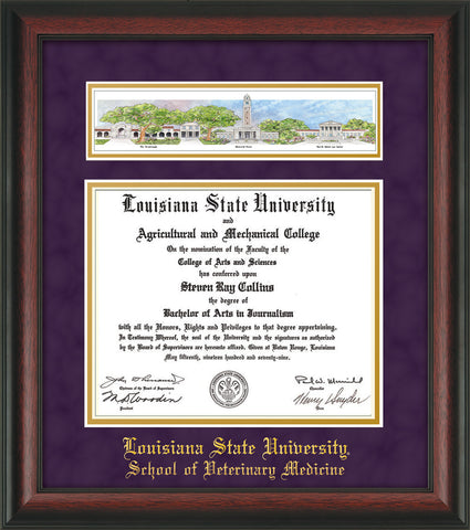 Image of Louisiana State University School of Veterinary Medicine Diploma Frame - Rosewood - w/Veterinary Embossed School Name Only - Campus Collage - Purple Suede on Gold mat