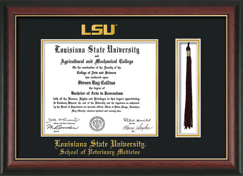 Image of Louisiana State University School of Veterinary Medicine Diploma Frame - Rosewood w/Gold Lip - w/Embossed LSU Seal & Veterinary Name - Tassel Holder - Black on Gold mat