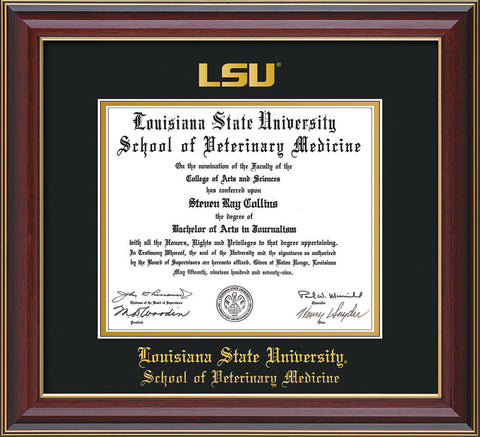 Image of Louisiana State University School of Veterinary Medicine Diploma Frame - Cherry Lacquer - w/Embossed LSU Seal & Veterinary Name - Black on Gold mat