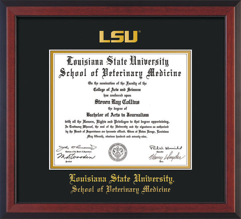 Image of Louisiana State University School of Veterinary Medicine Diploma Frame - Cherry Reverse - w/Embossed LSU Seal & Veterinary Name - Black on Gold mat