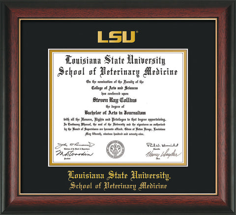 Image of Louisiana State University School of Veterinary Medicine Diploma Frame - Rosewood w/Gold Lip - w/Embossed LSU Seal & Veterinary Medicine Name - Black on Gold mat