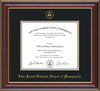 Image of Lake Forest Graduate School of Management Diploma Frame - Cherry Lacquer - w/Embossed LFGSM Seal & Name - UV Glass - Black on Gold mat