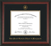 Image of Lake Forest Graduate School of Management Diploma Frame - Rosewood - w/Embossed LFGSM Seal & Name - Museum Glass - Black on Gold mat