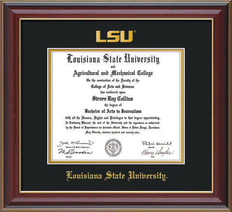 Image of Louisiana State University Diploma Frame - Cherry Lacquer - w/Embossed LSU Seal & Name - Black on Gold mat