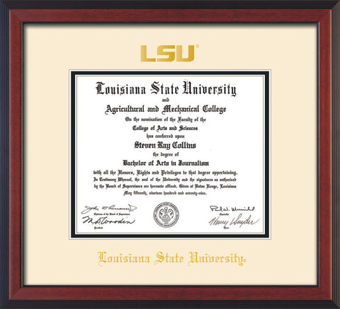 Image of Louisiana State University Diploma Frame - Cherry Reverse - w/Embossed LSU Seal & Name - Cream on Black mat