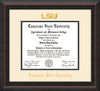 Image of Louisiana State University Diploma Frame - Mahogany Braid - w/Embossed LSU Seal & Name - Cream on Black mat