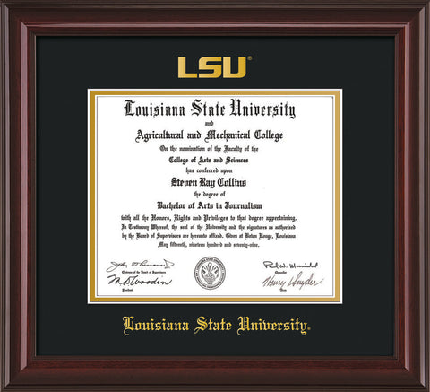 Image of Louisiana State University Diploma Frame - Mahogany Lacquer - w/Embossed LSU Seal & Name - Black on Gold mat