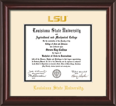 Image of Louisiana State University Diploma Frame - Mahogany Lacquer - w/Embossed LSU Seal & Name - Cream on Black mat