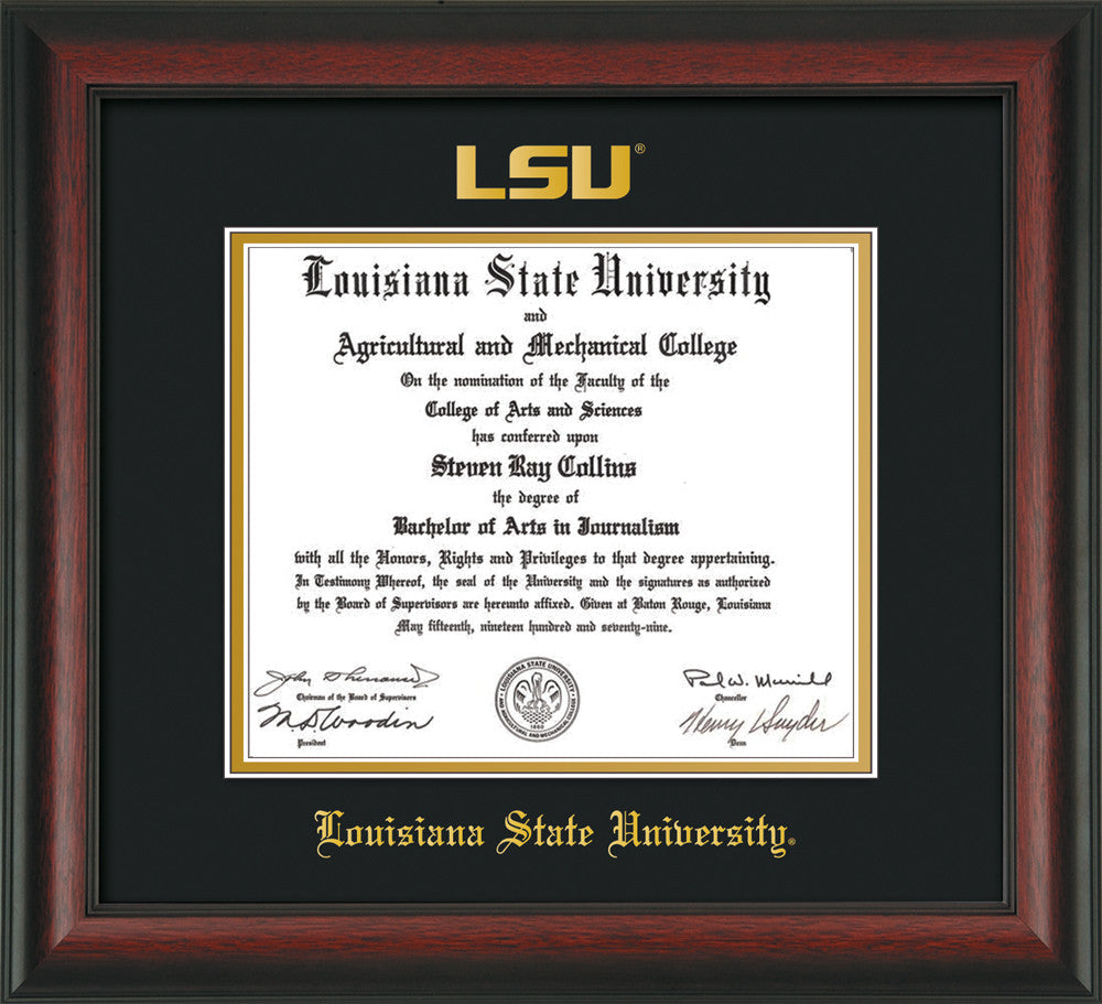 Louisiana State U Diploma Frame - Rosewood - Seal - Black on Gold ...