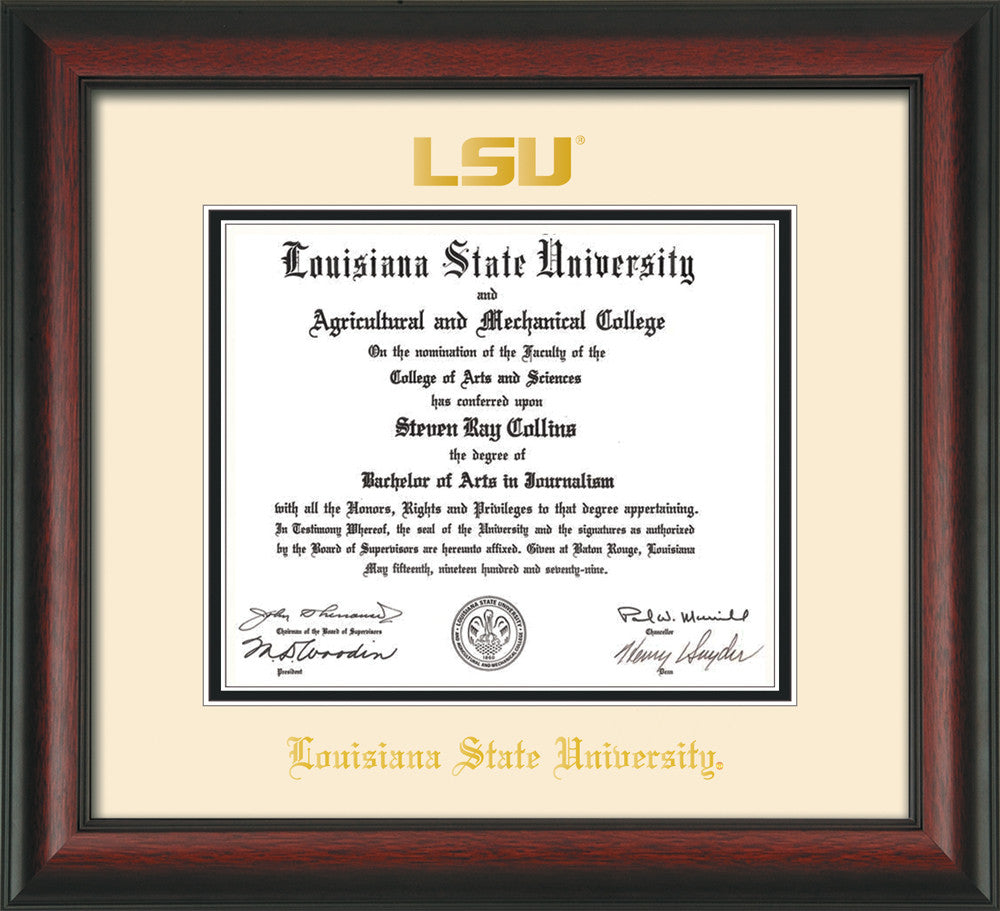 Louisiana State U. Diploma Frame - Rosewood - Seal - Cream on Black ...