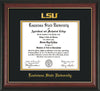 Image of Louisiana State University Diploma Frame - Rosewood w/Gold Lip - w/Embossed LSU Seal & Name - Black on Gold mat