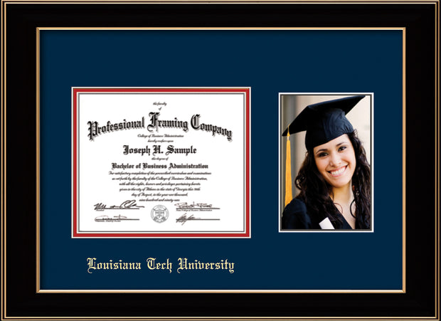 Image of Louisiana Tech University Diploma Frame - Black Lacquer - w/Laser Etched School Name Only - w/5x7 Photo Opening - Navy on Red mat