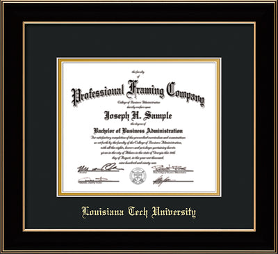 Image of Louisiana Tech University Diploma Frame - Black Lacquer - w/Laser Etched School Name Only - Black on Gold mat