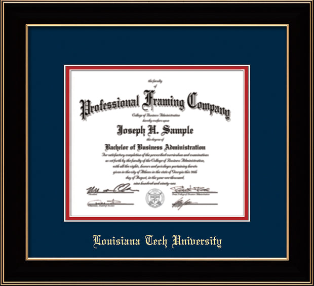 Image of Louisiana Tech University Diploma Frame - Black Lacquer - w/Laser Etched School Name Only - Navy on Red mat