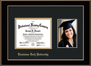 Image of Louisiana Tech University Diploma Frame - Black Lacquer - w/Laser Etched School Name Only - w/5x7 Photo Opening - Black on Gold mat