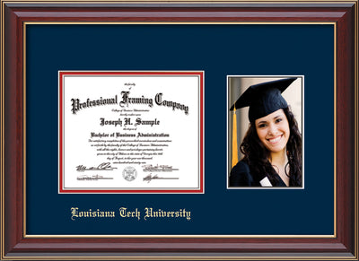 Image of Louisiana Tech University Diploma Frame - Cherry Lacquer - w/Laser Etched School Name Only - w/5x7 Photo Opening - Navy on Red mat