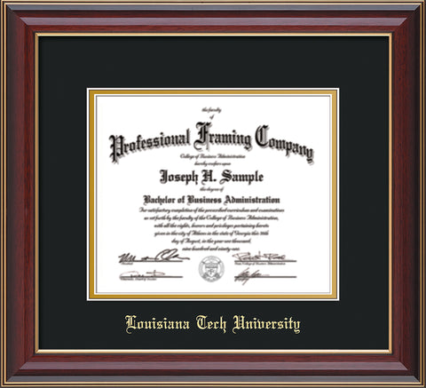 Image of Louisiana Tech University Diploma Frame - Cherry Lacquer - w/Laser Etched School Name Only - Black on Gold mat