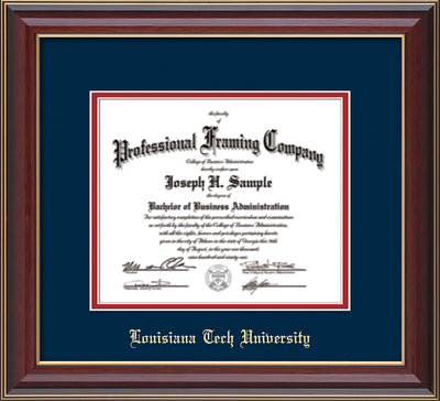 Image of Louisiana Tech University Diploma Frame - Cherry Lacquer - w/Laser Etched School Name Only - Navy on Red mat