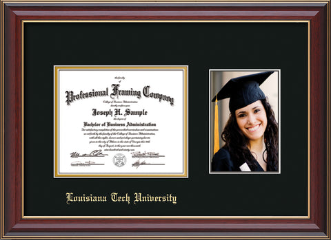 Image of Louisiana Tech University Diploma Frame - Cherry Lacquer - w/Laser Etched School Name Only - w/5x7 Photo Opening - Black on Gold mat