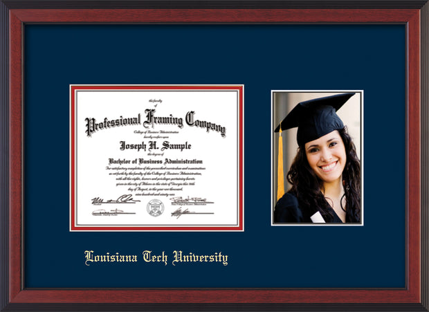 Image of Louisiana Tech University Diploma Frame - Cherry Reverse - w/Laser Etched School Name Only - w/5x7 Photo Opening - Navy on Red mat