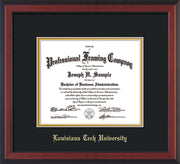 Image of Louisiana Tech University Diploma Frame - Cherry Reverse - w/Laser Etched School Name Only - Black on Gold mat