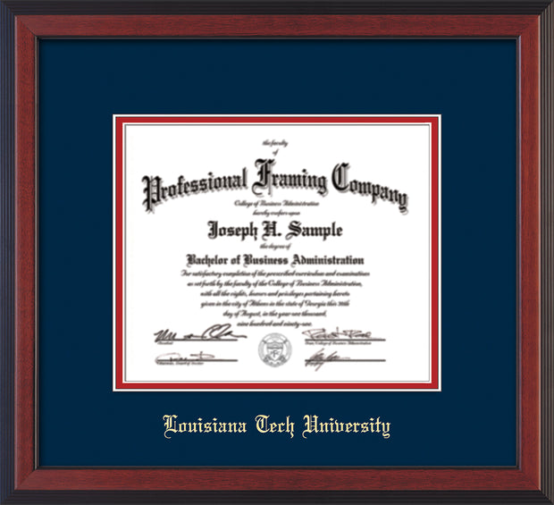 Image of Louisiana Tech University Diploma Frame - Cherry Reverse - w/Laser Etched School Name Only - Navy on Red mat