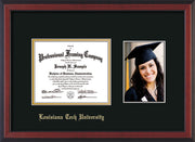 Image of Louisiana Tech University Diploma Frame - Cherry Reverse - w/Laser Etched School Name Only - w/5x7 Photo Opening - Black on Gold mat