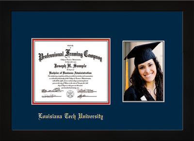 Image of Louisiana Tech University Diploma Frame - Flat Matte Black - w/Laser Etched School Name Only - w/5x7 Photo Opening - Navy on Red mat