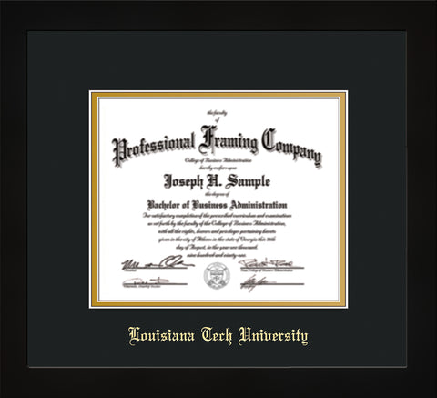 Image of Louisiana Tech University Diploma Frame - Flat Matte Black - w/Laser Etched School Name Only - Black on Gold mat