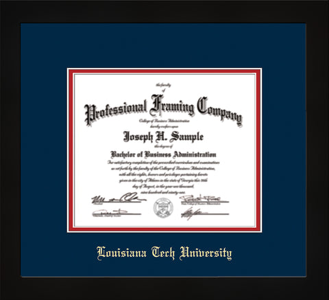 Image of Louisiana Tech University Diploma Frame - Flat Matte Black - w/Laser Etched School Name Only - Navy on Red mat