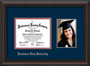 Image of Louisiana Tech University Diploma Frame - Mahogany Braid - w/Laser Etched School Name Only - w/5x7 Photo Opening - Navy on Red mat