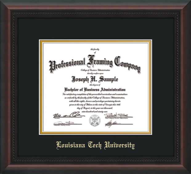 Image of Louisiana Tech University Diploma Frame - Mahogany Braid - w/Laser Etched School Name Only - Black on Gold mat