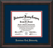 Image of Louisiana Tech University Diploma Frame - Mahogany Braid - w/Laser Etched School Name Only - Navy on Red mat
