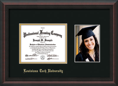 Image of Louisiana Tech University Diploma Frame - Mahogany Braid - w/Laser Etched School Name Only - w/5x7 Photo Opening - Black on Gold mat