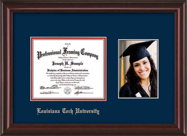 Image of Louisiana Tech University Diploma Frame - Mahogany Lacquer - w/Laser Etched School Name Only - w/5x7 Photo Opening - Navy on Red mat