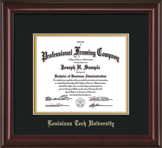 Image of Louisiana Tech University Diploma Frame - Mahogany Lacquer - w/Laser Etched School Name Only - Black on Gold mat